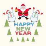 Santa claus and snowmen. Postcard with Santa Claus and merry snowmen Stock Image