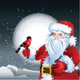 Santa Claus on snowy background Stock Images