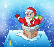 Santa Claus on snowy roof Royalty Free Stock Images