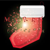 Santa Claus-Socke mit Weihnachtshintergrund und Grußkartenvektor stock abbildung