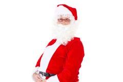 Santa Claus som är lycklig om jultid Arkivbild