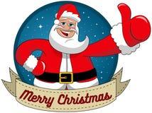 Santa Claus som önskar rundaramen för glad jul Arkivbilder