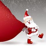 Santa Claus som drar den enorma påsen av gåvor stock illustrationer
