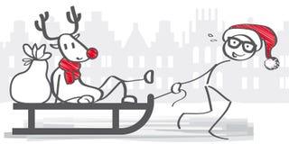 Santa Claus som drar släden royaltyfri illustrationer