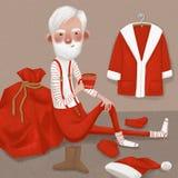Santa Claus som dricker kakao royaltyfri foto