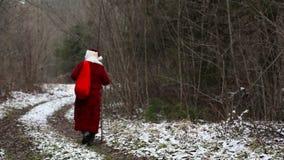 Santa Claus som går ner vägen i träna stock video