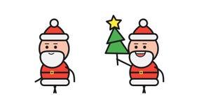 Santa Claus som går och rymmer julgranen Alpha Channel arkivfilmer