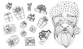 Santa Claus som går till berömjul inställda tecken också vektor för coreldrawillustration vektor illustrationer