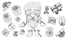 Santa Claus som går till berömjul inställda tecken också vektor för coreldrawillustration royaltyfri illustrationer