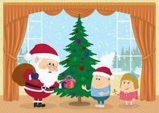 Santa Claus som ger gåvor Arkivfoton