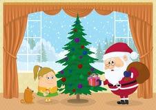 Santa Claus som ger gåvor Arkivbilder