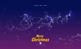 Santa Claus som ger gåvor, pekar, linjer, framsidor som komponeras av illustrationer royaltyfri illustrationer