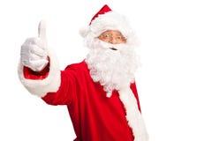 Santa Claus som ger upp en tumme Arkivfoton