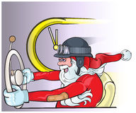 Santa Claus som kör en gammal bil Affisch för bakgrund för julhälsningkort Arkivfoton