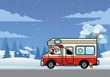 Santa Claus som kör rv-lastbilen för ferie vektor illustrationer