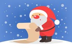Santa Claus som läser en lång lista av gåvor royaltyfri illustrationer
