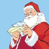 Santa Claus som läser ett julbrev royaltyfri illustrationer
