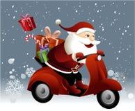 Santa Claus som rider en sparkcykel Royaltyfri Bild