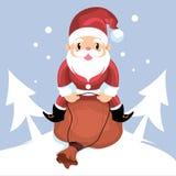 Santa Claus som rider hans gåvasäck Royaltyfri Illustrationer
