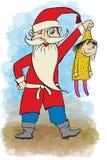 Santa Claus som rymmer en docka i hans armar vektor illustrationer