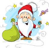 Santa Claus som rymmer en påse och en gåva Royaltyfri Bild