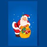 Santa Claus som rymmer en säck med leksaker Jul Arkivbilder