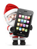 Santa Claus som rymmer en stor smart telefon stock illustrationer