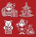 Santa Claus som rymmer jul, hänger löst och gåvan, svin med gåvan, gran för laser-klipp invitation new year stock illustrationer