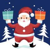 Santa Claus som rymmer julgåvan Royaltyfri Illustrationer