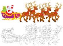 Santa Claus som sledding vektor illustrationer