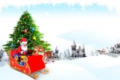 Santa Claus som talar med renen Royaltyfria Bilder