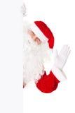 Santa Claus som vågr med det blanka tecknet Arkivbilder