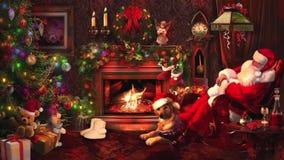 Santa Claus som vilar vid spisen i rummet som dekoreras med girlander med julgranen arkivfilmer