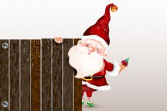 Santa Claus sonriente feliz que se coloca detrás de una muestra en blanco, mostrando una muestra de madera grande Tarjeta de Navi stock de ilustración