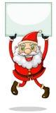 Santa Claus sorridente che tiene un contrassegno vuoto Fotografia Stock Libera da Diritti