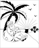 Santa Claus sotto una palma Fotografia Stock Libera da Diritti