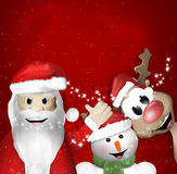 Santa Claus Sowman and Reindeer Royalty Free Stock Image