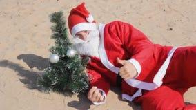 Santa claus sparklers christmas  celebration new year beach holiday. Santa claus sparklers christmas celebration new year beach holiday dance stock footage