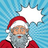 Santa claus with speakbox Christmas pop art. Vector illustration graphic royalty free illustration