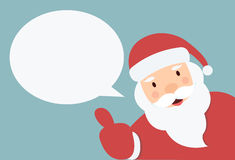 Santa Claus with speech bubble  and hand thump up Stock Photo