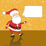 Santa Claus with speech bubble, modern gold background. Flat design style vector illustration