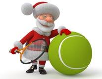 Santa Claus speelt tennis Royalty-vrije Stock Afbeeldingen