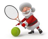 Santa Claus speelt tennis Stock Afbeeldingen