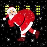 Santa Claus spring med påsen av gåvorna Royaltyfri Bild