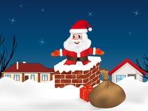 Santa Claus springend in den Kamin und voll rauszuschmeißen von Geschenken Winternachtstadt Sankt Klaus, Himmel, Frost, Beutel Ve lizenzfreie abbildung