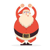 Santa Claus sqautting. Cute cartoon cheerful and smiling Father. Frost character doing squats. Flat style vector illustration Royalty Free Stock Photo