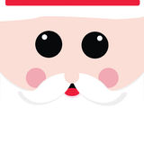 Santa claus. Square Santa Claus face with Christmas hat and beard Stock Photography