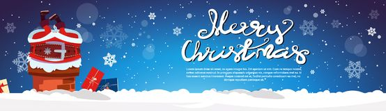 Santa Claus Stack In Chimney Merry Christmas And Happy New Year Horizontal Banner With Copy Space Stock Images