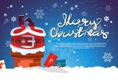 Santa Claus Stack In Chimney Merry-Kerstmis en Gelukkige Nieuwjaarbanner met Exemplaarruimte Royalty-vrije Stock Afbeelding