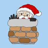 Santa claus in the stack for christmas and new year vector hand drawn Royalty Free Stock Images